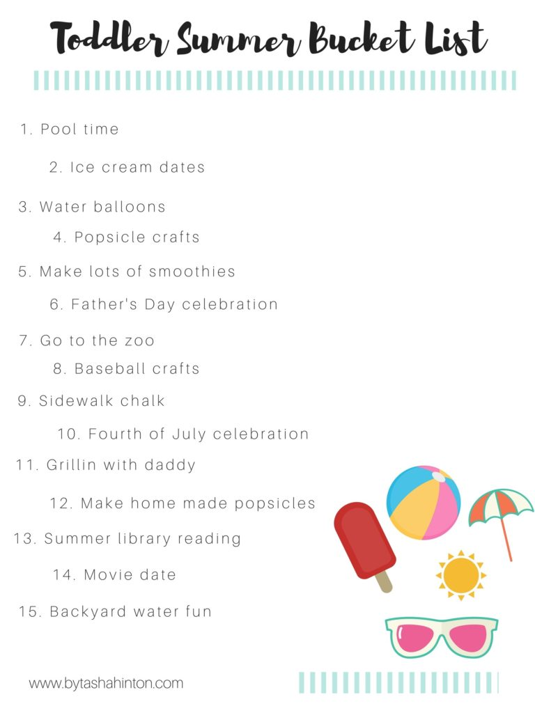 our toddler summer bucket list free printable